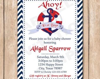 Nautical Boy Baby Shower Invitation | Sailboat, Sailor, Mariner, Boat, Anchor - 1.00 each printed or 10.00 DIY file