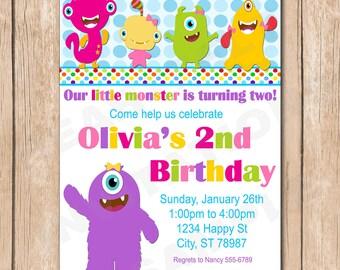 Little Girl Monsters Birthday Invitation | Monster - 1.00 each printed or 10.00 DIY file