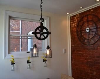 Industrial Pulley Light - Barn Pulley Light - Industrial Light - Pulley Light - Home Decor - Ceiling Decor - Industrial Decor- country light