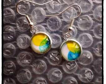"earrings ""digitales "" yellow-blue"