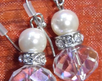 A beautiful pair of vintage crystal and pearl droplet earrings Art Deco style