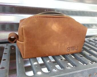 Caramel Leather Shaving Bag/ Handmade Shave Bag /Father's Day Gift/ Wedding/ Groomsman Gift/ Dopp Kit/ Mens Gift