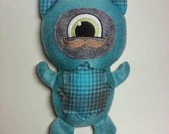 """Teal Fleece Embroidered Scottish Mustachioed Cyclops Snuggle Monster """"Kilt"""""""