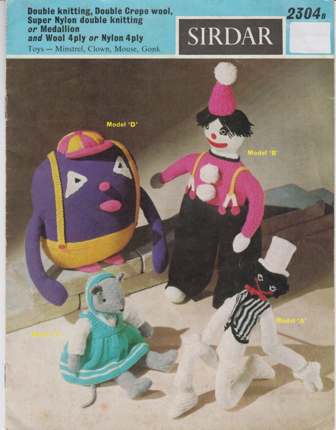 Knitting Pattern Books Toys : Vintage Pattern Book 1960s Knitted Soft Toys Dolls Clown