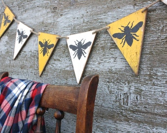 Wood Bumble Bee French Country Decor Queen Bee Banner Rustic Decor Pennant Garland Tags Signs
