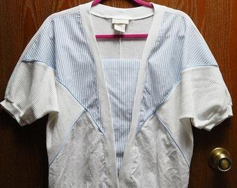 D.K. Gold Womens Medium White Knit + Eyelet Blue Stripe Short Sleeve Blouse/Top/Shirt