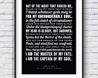 Invictus, i am the master of my fate, invictus poem, inspirational quote, Poems, Graduation gift, William Henley, wall art, typography