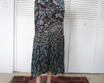 Broomstick Skirt Bohemian Clothes Maxi Skirt Vintage Clothes Hippie Skirt Boho Clothes Layered Skirt