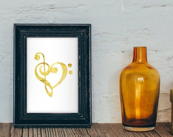 Gold Faux Foil Music Heart Print 4x6 - 5x7 - Treble Bass Clef Art - Girly Decor - Gold Decor - Wall Art - Music Room Decor - Chic Decor