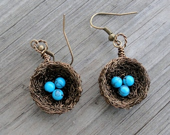 Earrings , birds nest earrings , wire wrapped earrings, beaded earrings, nature jewelry,  turquoise earrings