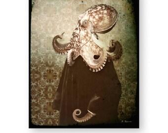 "Octopus Art Print, Steampunk, Anthropomorphic, Nautical, Collage, Political Satire, (2 Sizes) ""Chief Justice Octavian"""