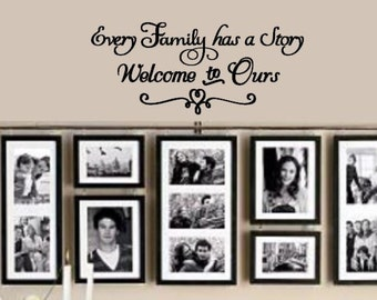 Every Family has a story, welcome to ours - Vinyl Decal for wall or DIY sign board