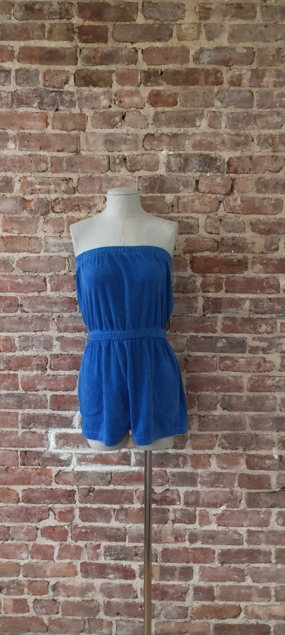 Vintage 70 S Blue Terry Cloth Romper Playsuit By 58petticoats