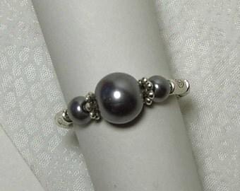 """Cynthia Lynn """"SIMPLE ELEGANCE"""" Grey Glass Faux Pearl Silver Stretch Ring (Specify Size)"""