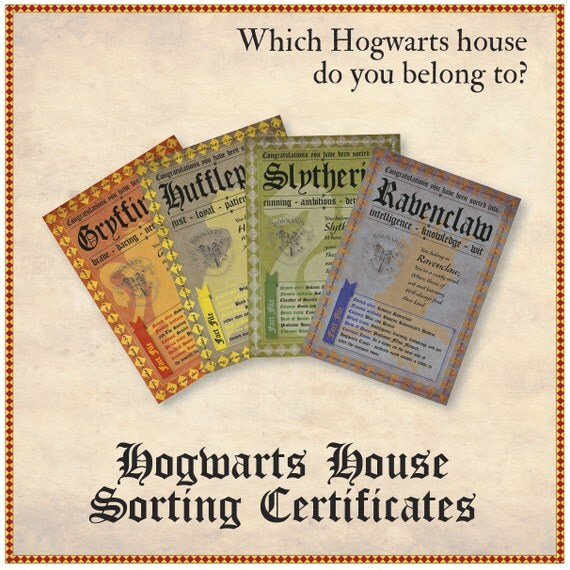 Hogwarts House Certificates