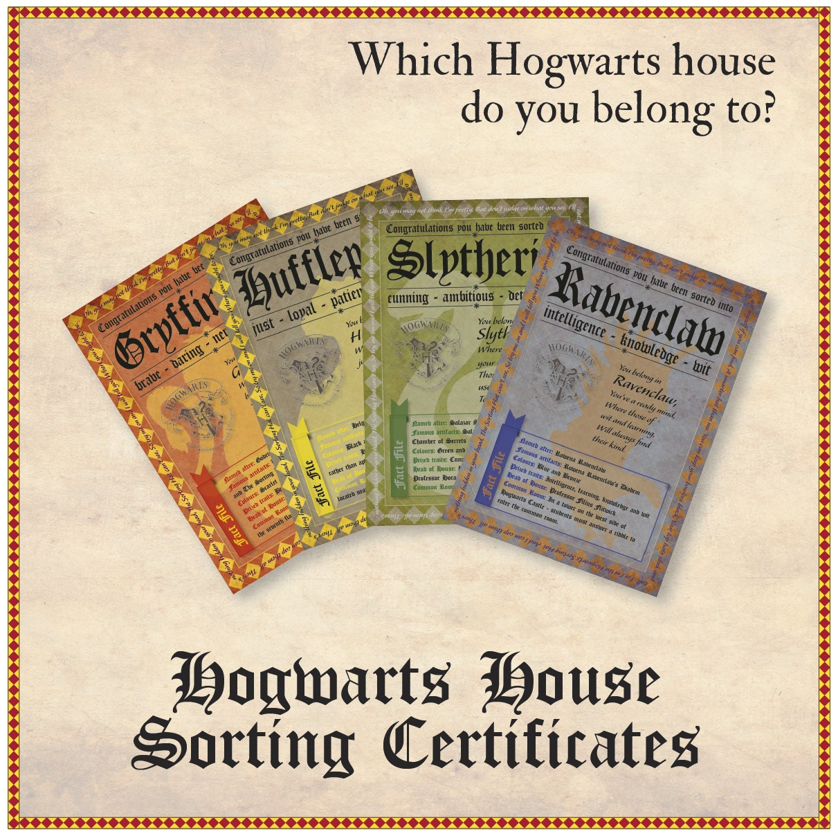 Hogwarts house certificates for Hogwarts certificate