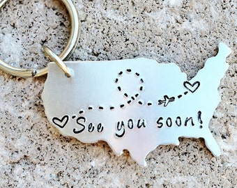CUSTOM State Map Keychain - Choose Your Locations - with Plane and Custom Message
