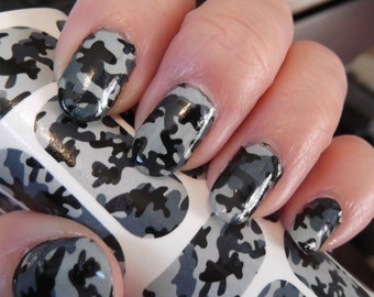 Camo nails etsy 18 grey camo nail art decals cm1 camouflage nails transparent colors waterslide stickers prinsesfo Image collections