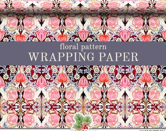 Vintage Floral Wrapping Paper | Vintage Floral Pattern Gift Wrap Paper Roll In 9 feet or 18 feet. Everyday Gift Wrap.