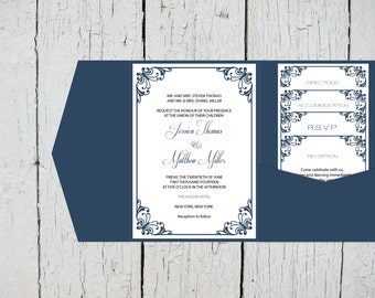 Pocket Wedding Invitation Templates Set