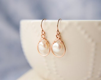 Lunar Pearl Drop Earrings 14k Rose Gold Teardrop Jewelry - Elegant Friend Girlfriend Bridesmaid Bridal Gift - June Birthstone - twoblindmice