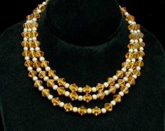 3-Strand Amber Orange Crystal Cut Bead Necklace Vintage 1950s