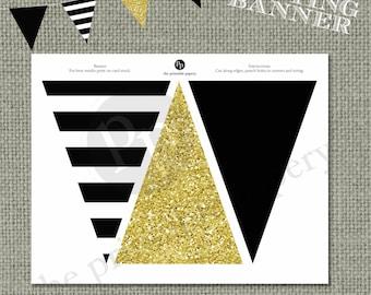 Printable Bunting Banner | Black & Gold Glitter Decor | Instant Download | BSA | DIY | No. BAN-121