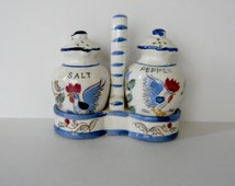 Nasco Rooster Salt and Pepper Set with Caddy Blue and White Vintage