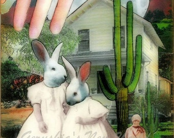 The Guardian of Minervia's Secrets (Tiny Tale Art) - Anthropomorphic Watercolor/Collage Print