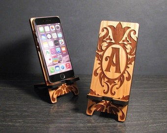Personalized Gift Monogram Wood Cell Phone Stand Docking Station - 5 Sizes - iPhone 6, 6 Plus, iPhone 5, Samsung Galaxy, Universal