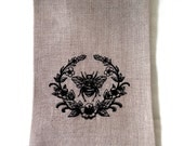 Tea Towel or Guest Towel Embroidered Bee in Wreath.  Royal Bee embroidered towel.  Embroidered hand towel.