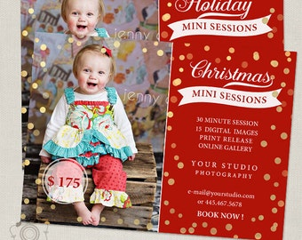 Christmas Mini Session Template - Holiday Photography Marketing Board 071 - C234, INSTANT DOWNLOAD