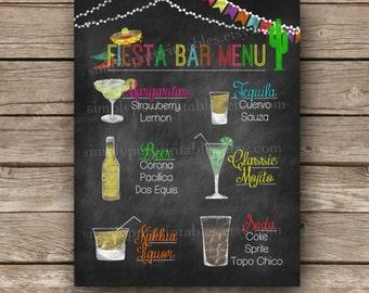 Custom Fiesta Chalkboard Bar Menu Sign Printable | Cinco de Mayo Menu | Mexican Party Sign | Personalized Menu |  Sombrero | Digital File