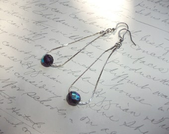 Delicate chain earrings with purple crystal.