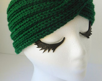Turban earwarmer, turban headband, hunter green - MADE TO ORDER