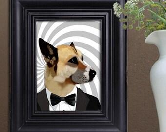 Dog  Art Print Poster Acrylic Painting Mixed Media Poster Wall Art Wall Hanging Wall Decor