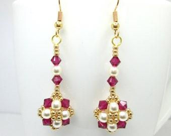 Tudor earrings, ruby earrings, tudor jewelry, swarovski earrings, preciosa pearl, red and gold, beadwork jewellery, ER013