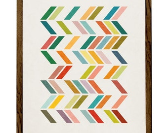Slanted 3. Geometric art Mid century print geometric wall art multi colored green orange print mid century art geometric poster Latte Design