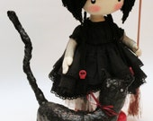 Doll little witch Kiki and  Cat halloween witch halloween decor primitive witch home decor cloth witch