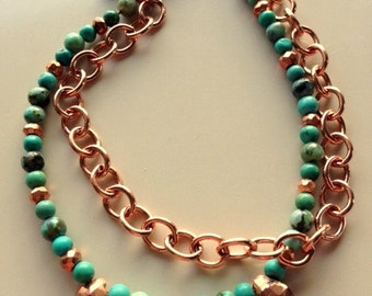 Turquoise and Copper 2 Strand Bracelet