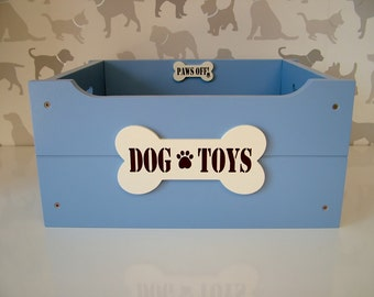 Personalised Dog Toy Box - Blue & Cream