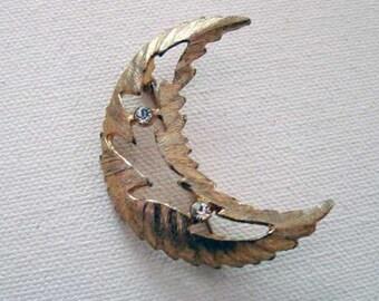Moon brooch, vintage rhinestone moon brooch, moon pin, rhinestone moon brooch, crescent moon brooch