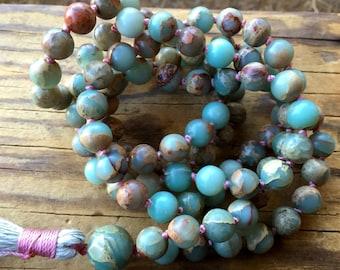 Prayer Beads African Blue Opal Mala Beads Peruvian Blue Clarity Strength October Birthstone Yoga Jewelry