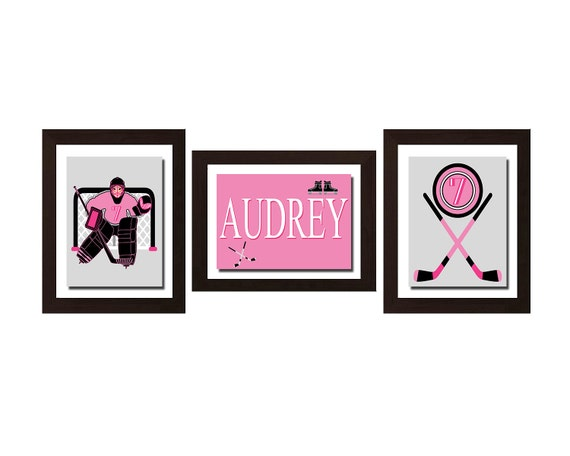 ON SALE, Girl Hockey Decor, Pink Room Decor, Hot Pink Room Decor, Teen Girl Room Decor, Sport Decor, Hockey Wall Art, Personalized Name Art,