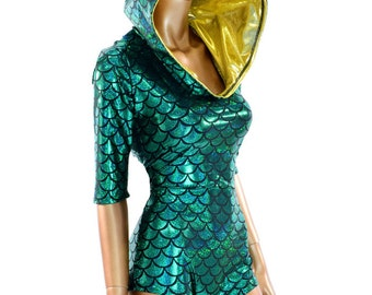 Mardi Gras Green Dragon Scale Half Sleeve Hoodie Romper w/Fuchsia Dragon Scale Spikes and Gold Sparkly Jewel Hood Liner Dinosaur - 150409