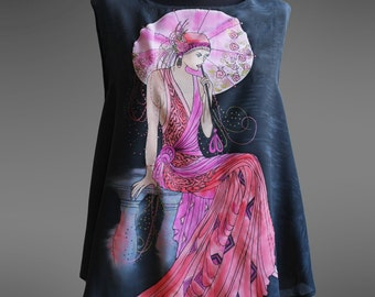 Hand painted silk top. Black silk blouse.  Art Deco silk top. Made to order.
