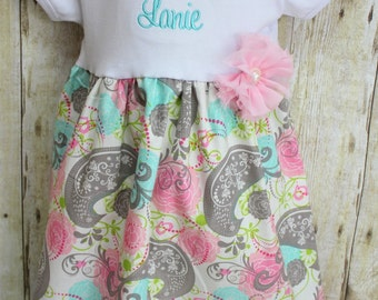 Big Sister Dress - Baby Announcement Dress - Aqua & Pink Paisley - Baby Shower Gift - With Headband