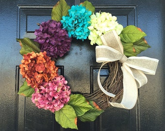 Wreath spring. spring door wreath. hydrangea wreath, spring wreath, spring decor, wreath for door.