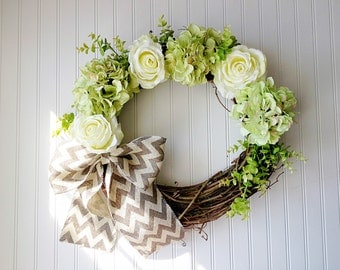 Green hydrangea and cream rose wreath. summer wreath. wreath for summer. front door wreath. spring wreath. door wreath