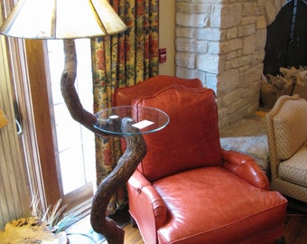 Twisted Oak Log Floor Lamp - Natural Reclaimed Wood Rustic Log Home Lighting